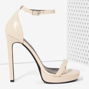 Jeffery Campbell Strides Leather Nude Sandal Heels